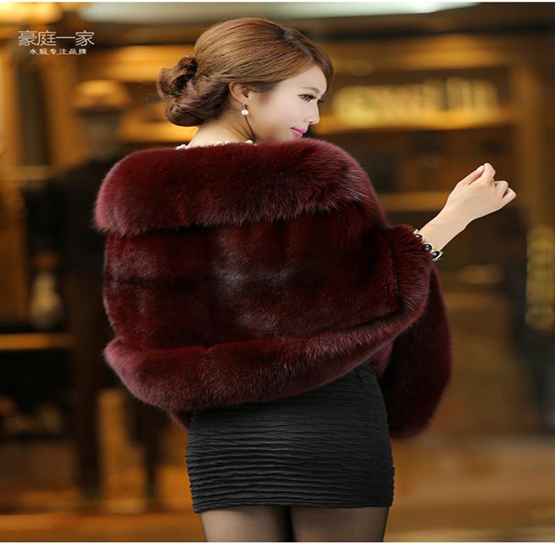 Fur shawl winter 2018 new imitation mink womens Fox Fur Collar cloak mink fur coat fur coat