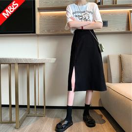 黑色半身裙女开叉中长款秋冬小个子设计感高腰a字裙夏季开衩长裙
