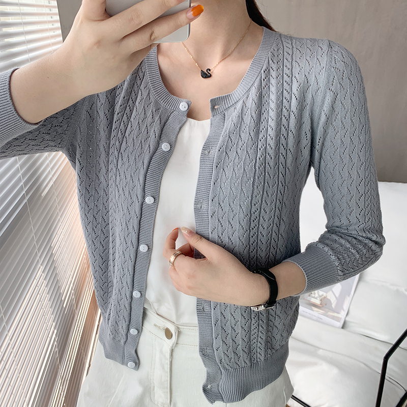 Spring and summer 2020 cotton hemp knitted womens loose collar cardigan jacket hollow sweater cardigan womens loose ins trend