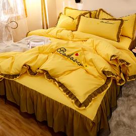 四件套全棉纯棉 网红蕾丝边床裙式少女心刺绣床罩公主风床上被套图片