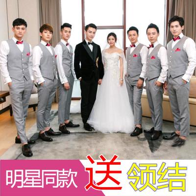 伴郎服装男西服马甲套装三件套韩版修身伴郎团新郎结婚礼服兄弟装