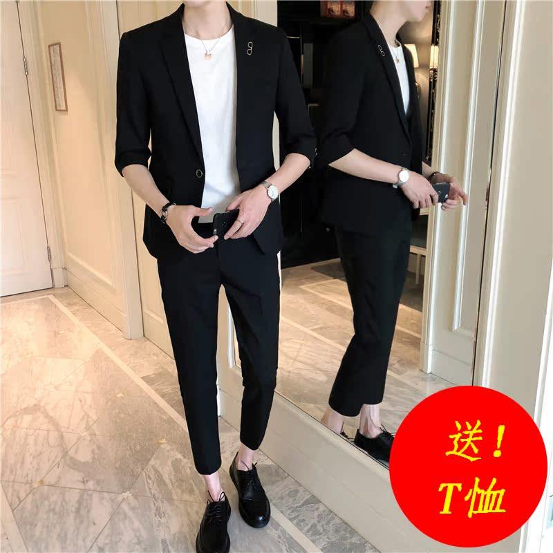 春夏新款男装韩版修身中袖九分裤西服套装夜店青少年七分袖小西装