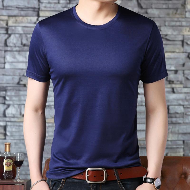 鄂尔多斯市圆领短袖T恤男桑蚕丝夏季冰丝薄纯色半袖打底体恤衫潮