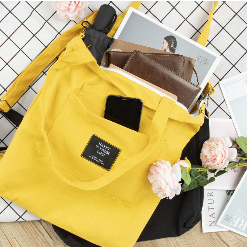 Canvas bag slung single shoulder cloth bag handbag carrying canvas bag student bag make up lesson canvas womens book bag