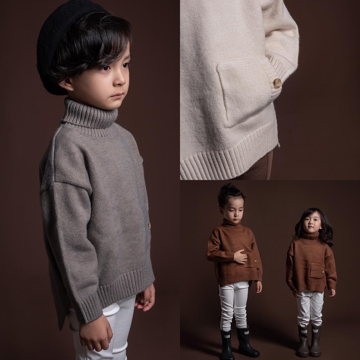 树坊童装过年高领加厚儿童毛衣女男童2019新款洋气打底加绒上衣图片