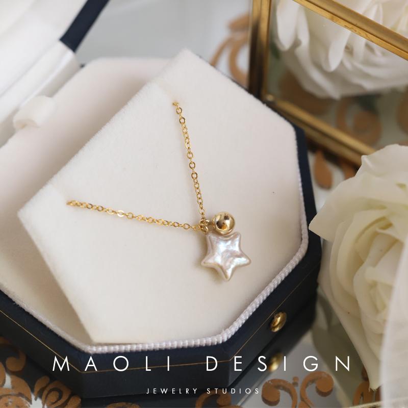 包金天然巴洛克淡水珍珠精致简约锁骨链14k独家原创.凡星MAOLI