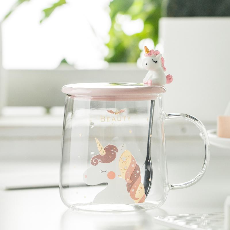 粉嫩少女心马克杯独角兽玻璃水杯家用杯子耐热玻璃杯学生水杯带盖