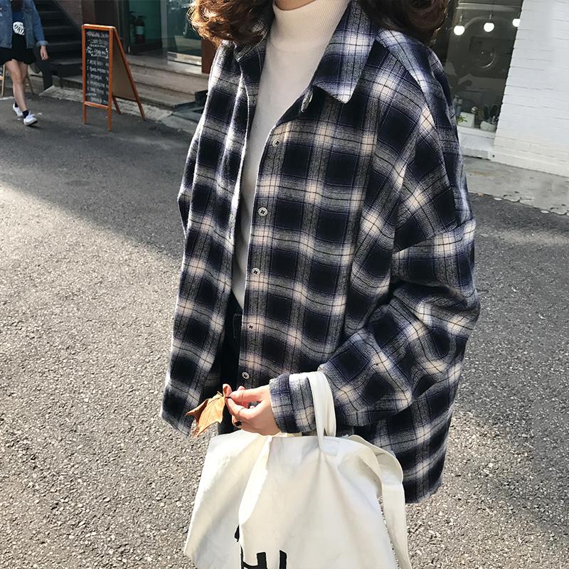 夏装新款女装韩版复古格子宽松小翻领长袖衬衫外套学生百搭上衣