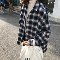 韩版复古宽松小翻领长袖格子衬衫女设计感小众外套学生百搭衬衣女