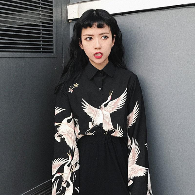 夏装新款韩版chic复古仙鹤印花黑色单排扣长袖衬衫女装百搭上衣