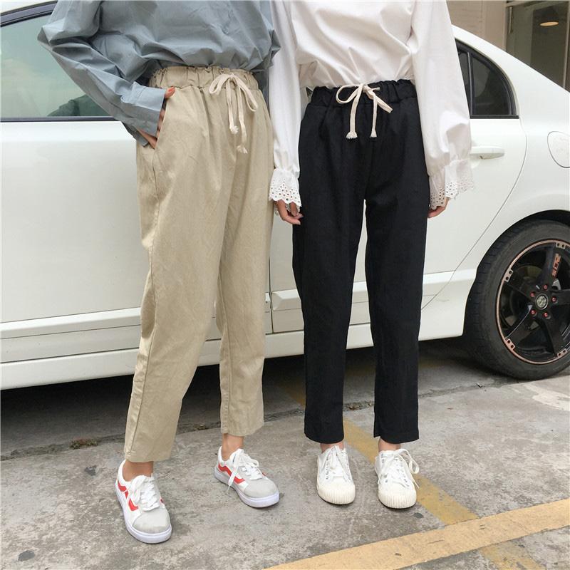 夏装女装韩版显瘦宽松松紧腰系带休闲裤学生百搭运动哈伦长裤子