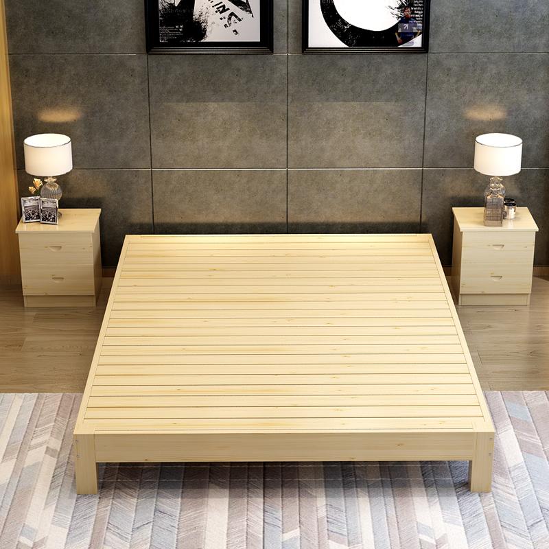 ��木榻榻米床松木�稳穗p人床1.2米1.5��木床1.8米�o床�^床架�易