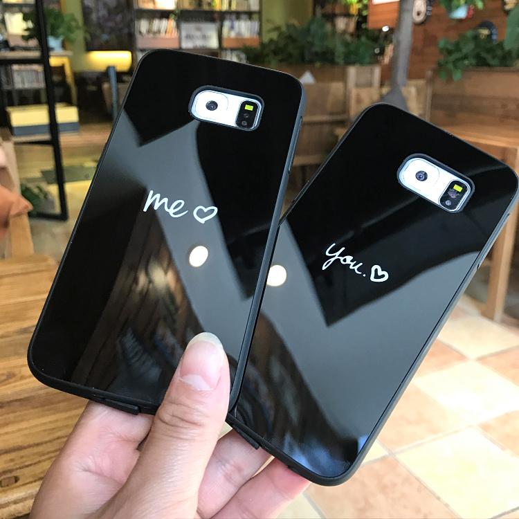 情侣文字三星s8+保护套S6edge+手机壳S7曲屏note5硅胶软壳N8镜面