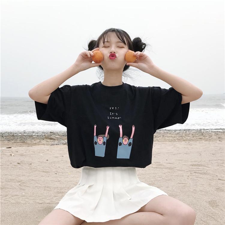 【2件45元】白色短袖t恤女装2018新款夏装韩版学生宽松百搭半袖女