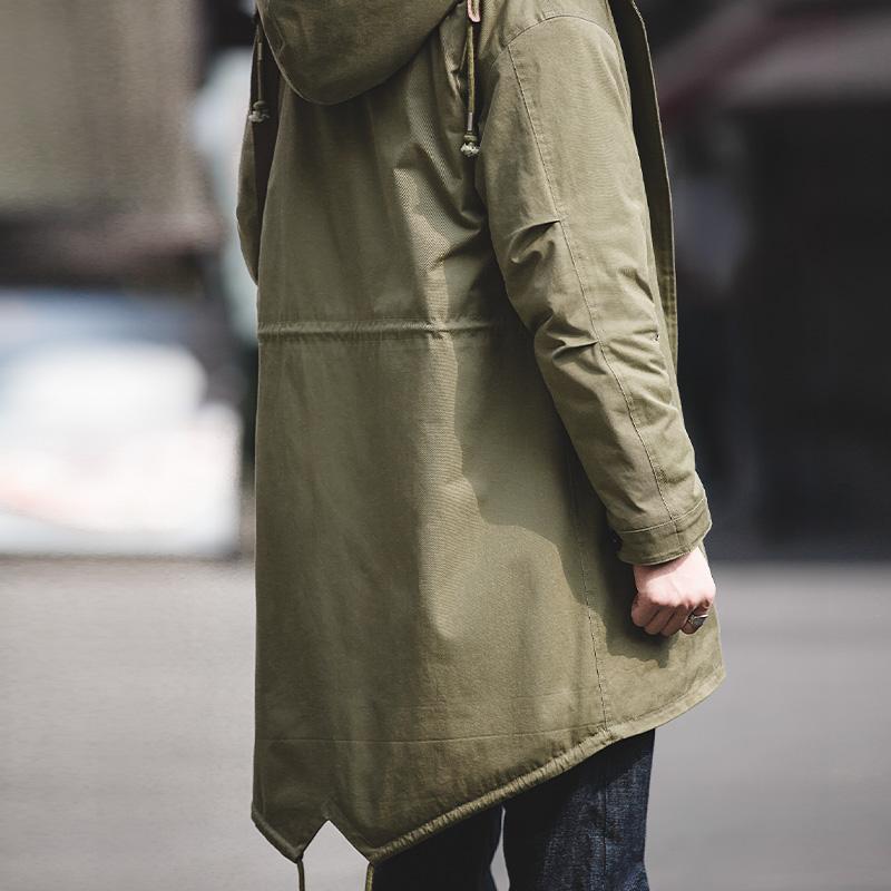 马登工装 美式复古M51鱼尾风衣阿美咔叽长款外套仿羊羔绒连帽大衣