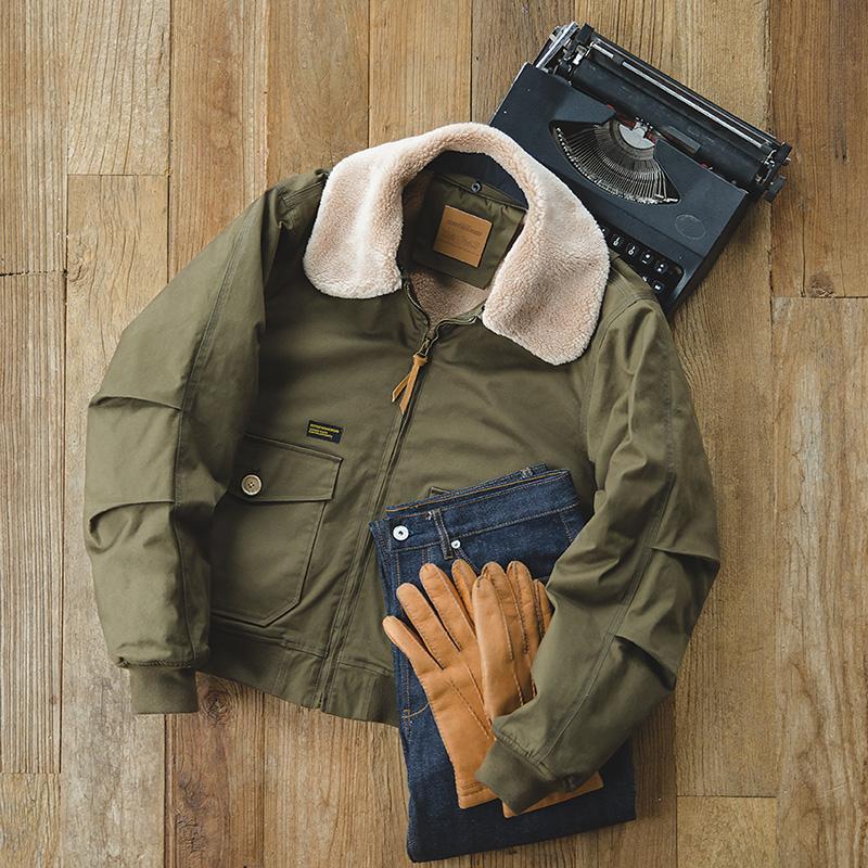 马登工装 美式复古重磅G1飞行夹克冬季阿美咔叽翻领修身保暖棉衣