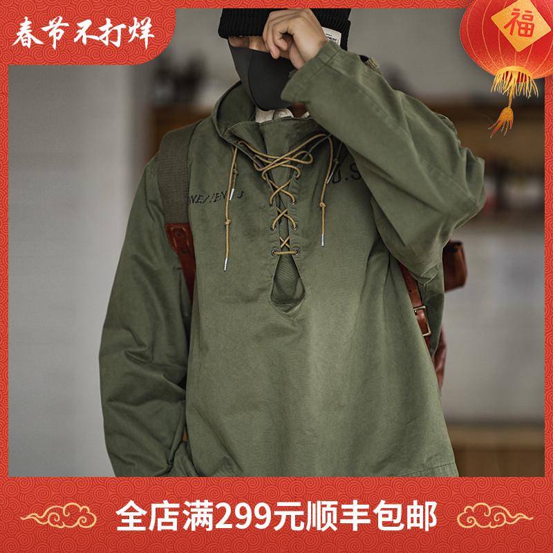 马登工装 美式复古海军甲板服阿美咔叽宽松外套军绿连帽衫卫衣男