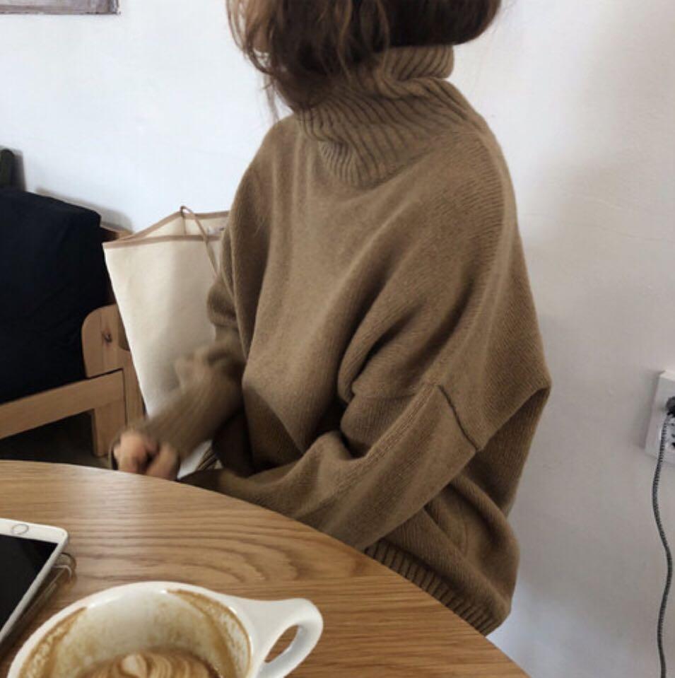 现货 休闲百搭高领燕麦毛衣