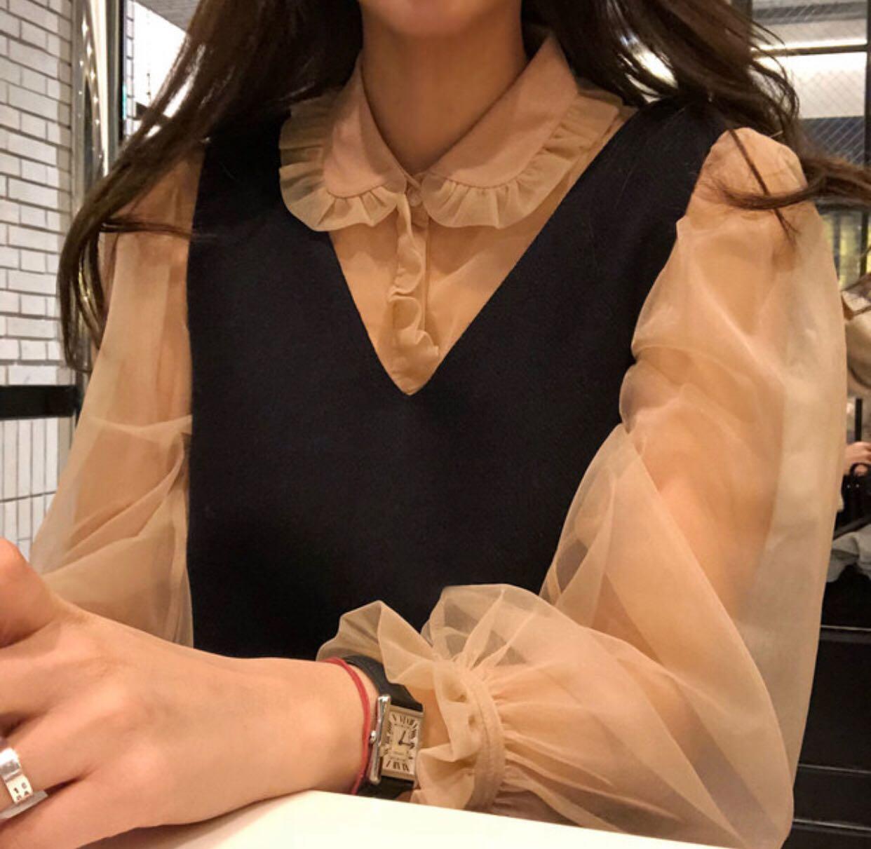 推荐款 甜美可爱木耳边蕾丝衬衫+背心连衣裙套装