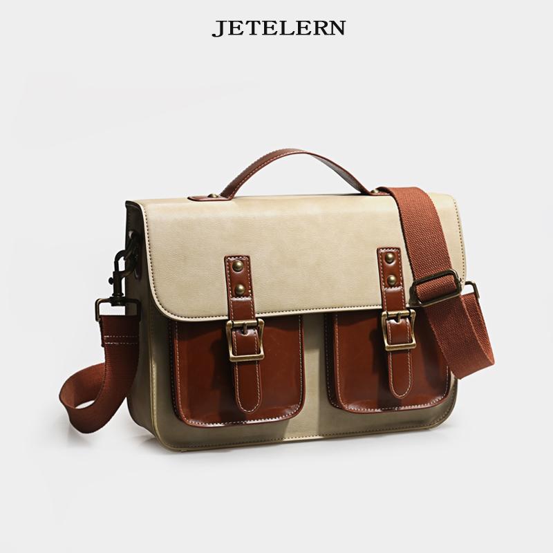 Retro double shouldered postman bag womens Single Shoulder Messenger Bag