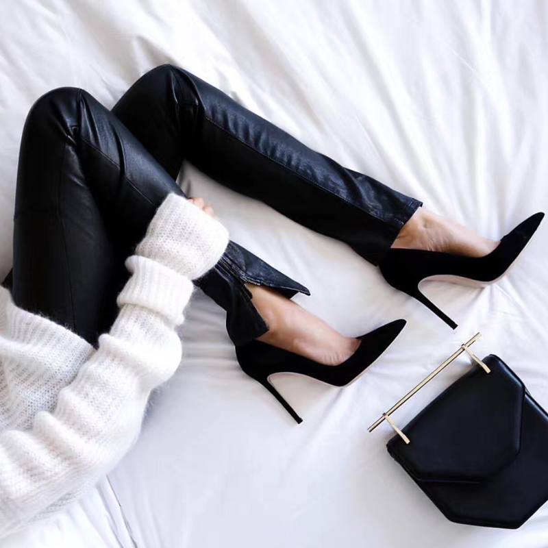 High heeled shoes female pointed thin Heel Black Leather versatile wedding shoes Bridesmaid shoes shallow mouth professional versatile graduation shoes female