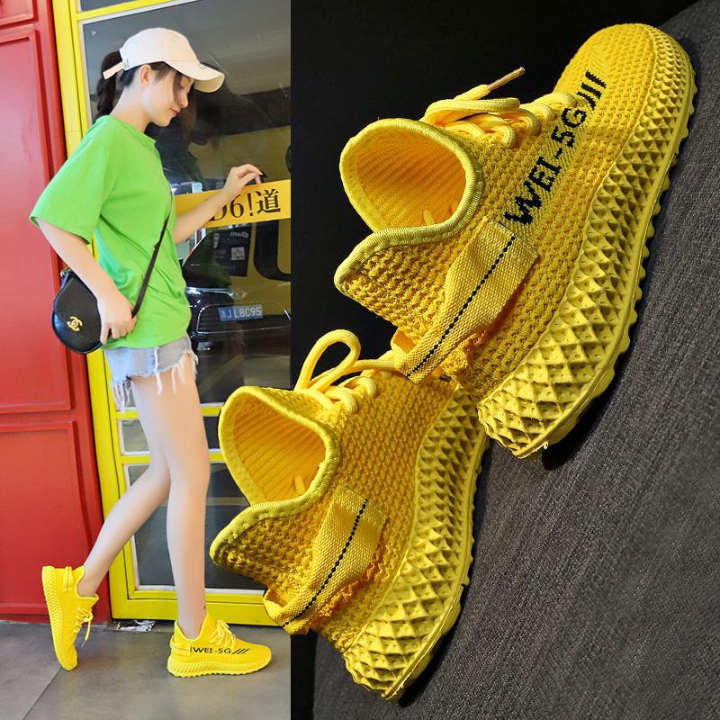 瑜伽软底透气轻便减震健身房运动鞋女超轻新款椰子旅游网面跑步鞋