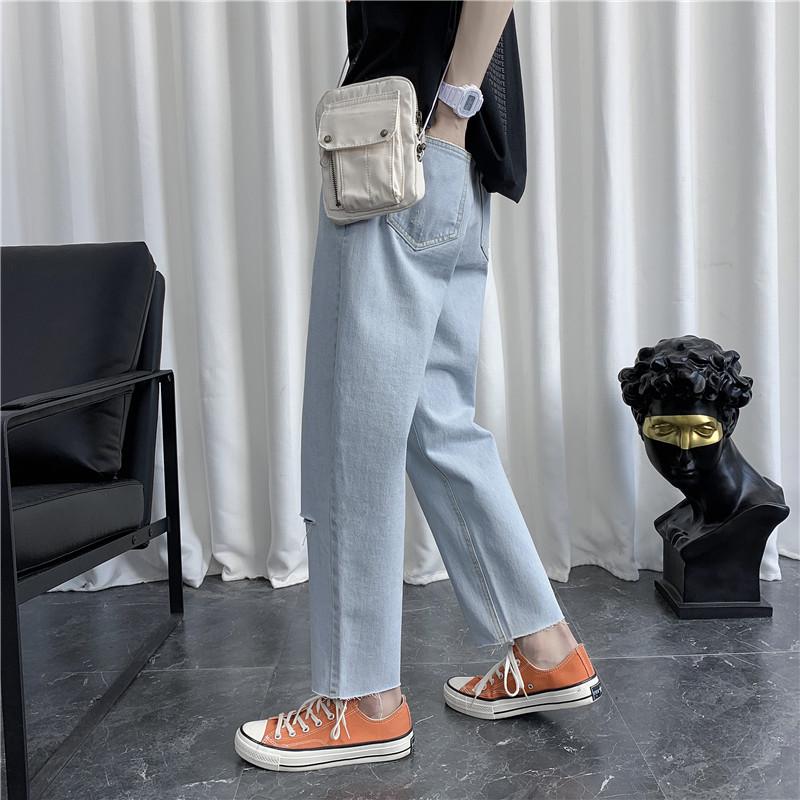 男刺绣新款港风精品牛仔裤破洞休闲女裤子714-2-x910-p50款