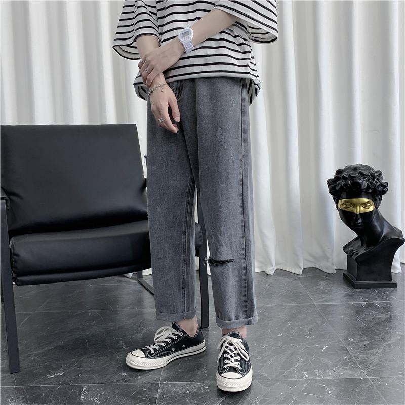 男新款港风精品牛仔裤破洞休闲女裤子714-3-x910-p50