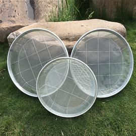 农用铁筛子有孔径3mm和4mm钢丝圆形晒鱼石沙子竹筛晒东西家用簸箕
