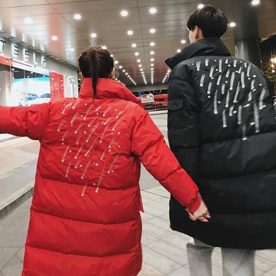 2018情侣装冬装流星刺绣中长款情侣棉衣外套365-P135男类 控165