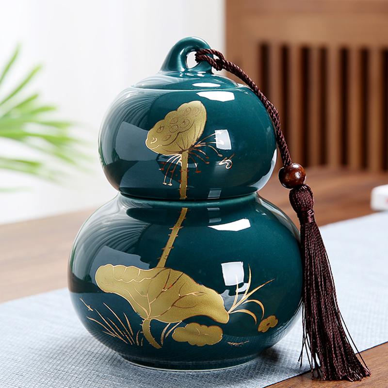 百顺福禄陶瓷葫芦茶叶罐中大号普洱花红绿茶叶包礼盒装密封罐定制