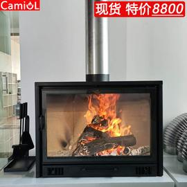 壁炉真火家用燃木取暖器现代欧式钢板嵌入式烧柴农村自建民宿别墅