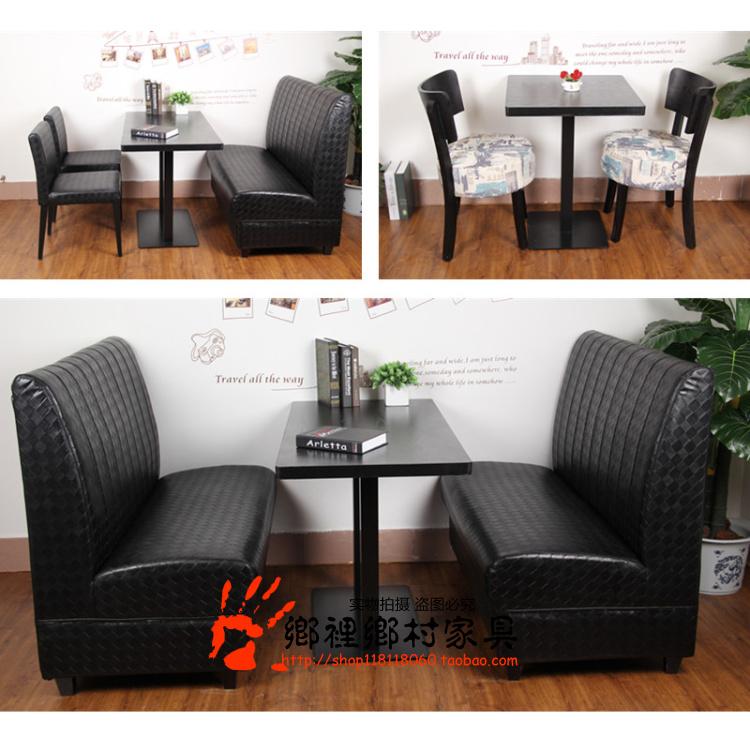 Фошань стандарт западный магазин диван кофе зал ткань оригами палуба диван столы и стулья сочетание дерево двойной опираться на стена