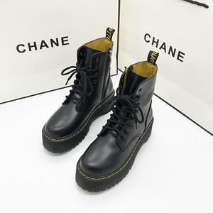 秋季新款英伦风马丁靴系带松糕底女靴时尚厚底短靴冬侧拉链机车鞋