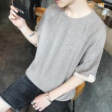 宽松中袖5分袖五分袖半袖短袖T恤韩版日系打底衫潮薄款夏季男装