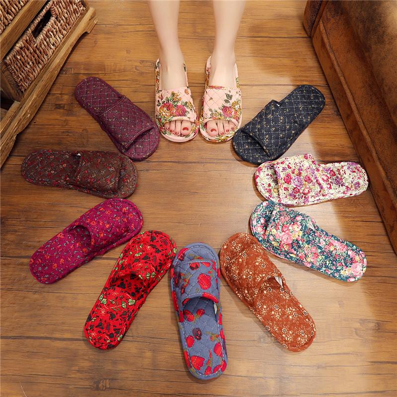 亚麻布拖鞋女室内家用棉居家无声布艺布底木地板拖鞋软底静音四季