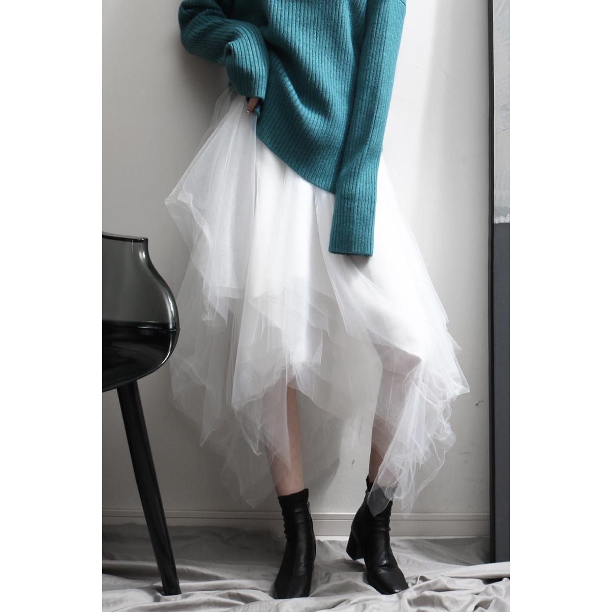 超仙白色女纱裙百搭中长款半身裙