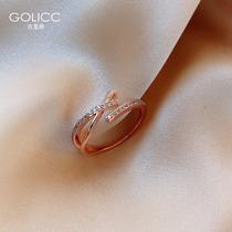 冷淡风交叉戒指女时尚个姓ins潮日式轻奢小众设计指环食指开口