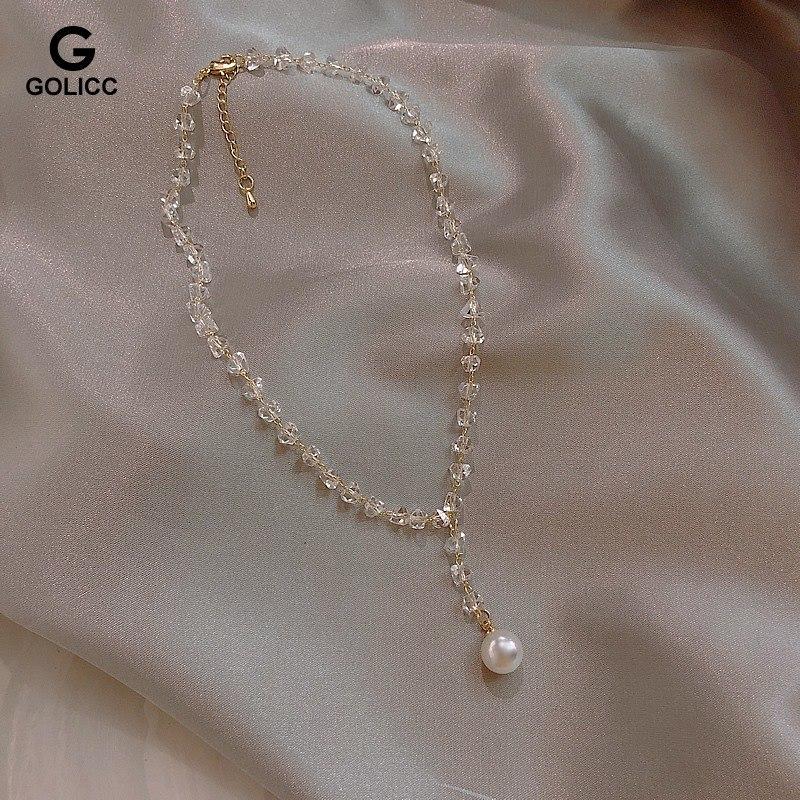 唯美女神气质百搭水晶珍珠项链颈链优雅华丽天鹅颈锁骨链潮女短链
