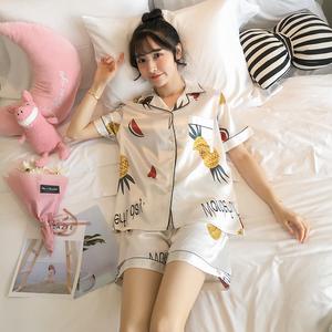 嘉盛 睡衣女夏季仿真丝性感衬衫领冰丝绸缎短袖薄款印花家居服