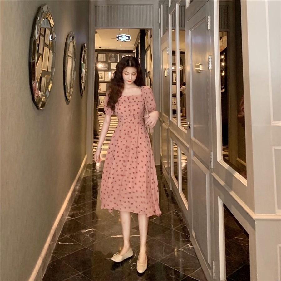 连衣裙很仙的法式复古优雅气质显瘦收腰波点 中长款裙子女短袖其