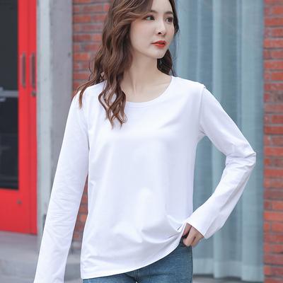 宽松]白色女长袖打底衫上衣女士内搭长款2021年春季新款纯棉秋t恤