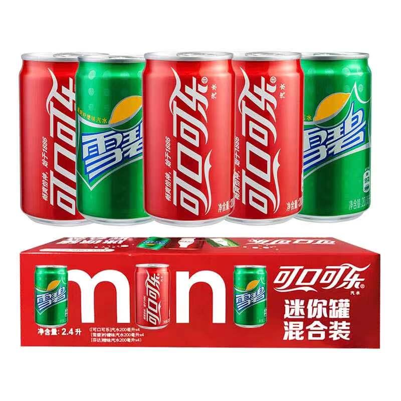 可口可乐迷你罐200ml12罐装整箱雪碧无糖零度0度听装小可乐