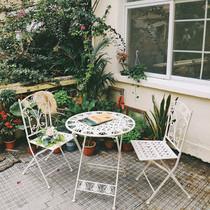 北欧阳台小桌椅三件套组合花园露台铁艺折叠休闲室外户外桌椅庭院