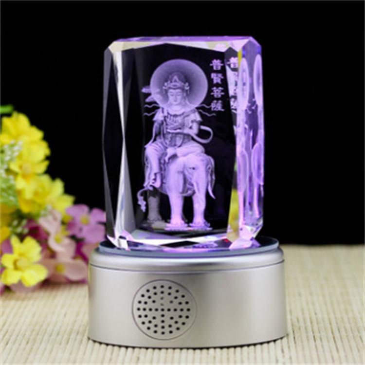 Puxian Bodhisattva music box rotating Bluetooth MP3 bottom sitting 3D crystal carving decoration devout Buddhists
