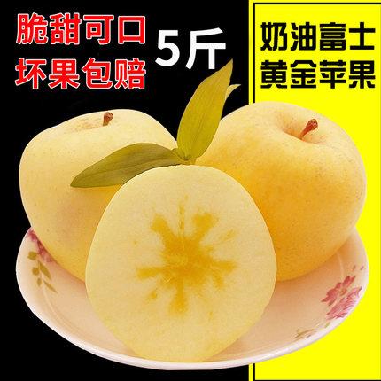 喜人喜新鲜牛奶黄金苹果水果山东烟台苹果红富士5斤包邮奶油富士