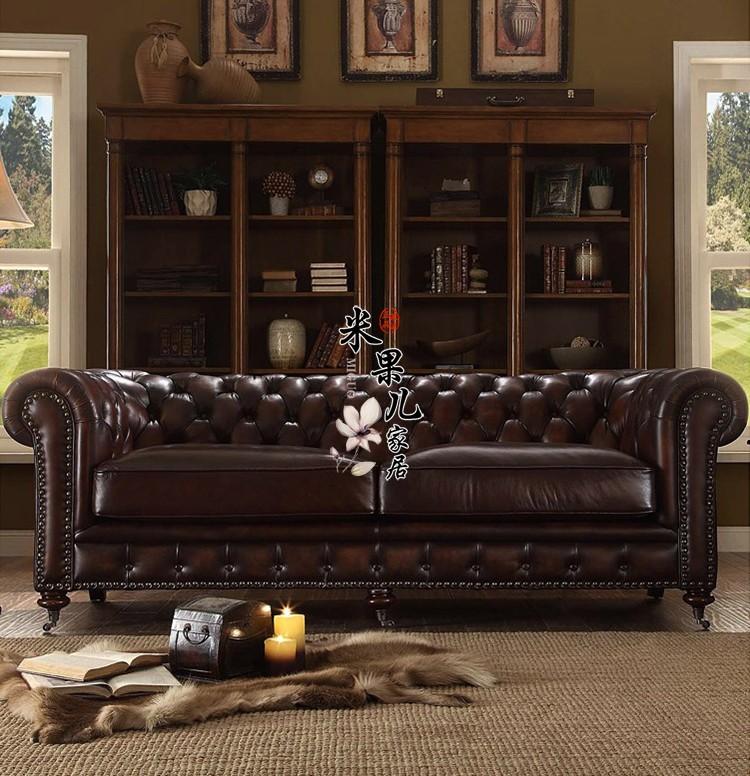 アメリカジの本革ソファのダウンジャケット、蝋の皮の芸術ソファ、欧風のリビングルーム、復古牛革の3人のソファセット