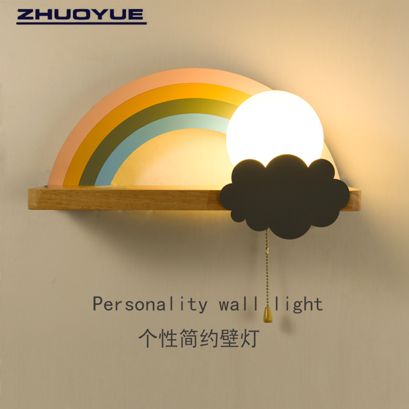 Nordic childrens wall lamp personality bedroom room cloud rainbow girl boy lamp living room corridor macarone lamp