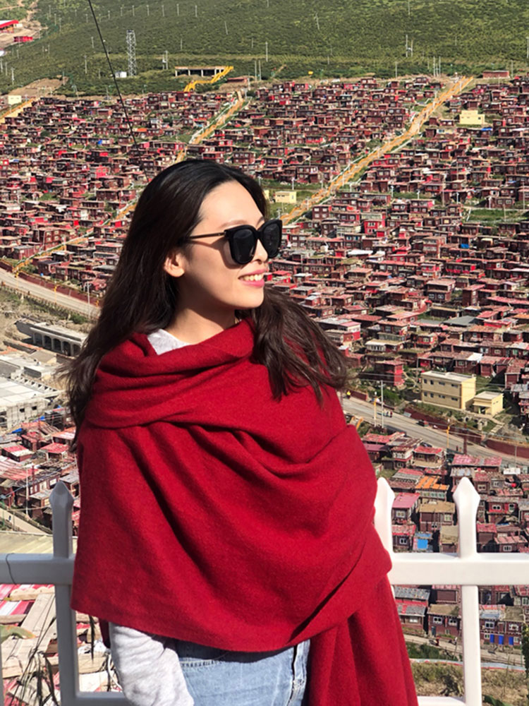 Qinghai Tibet tourism red scarf shawl dual-purpose womens national style sun protection desert photography with thickened warmth
