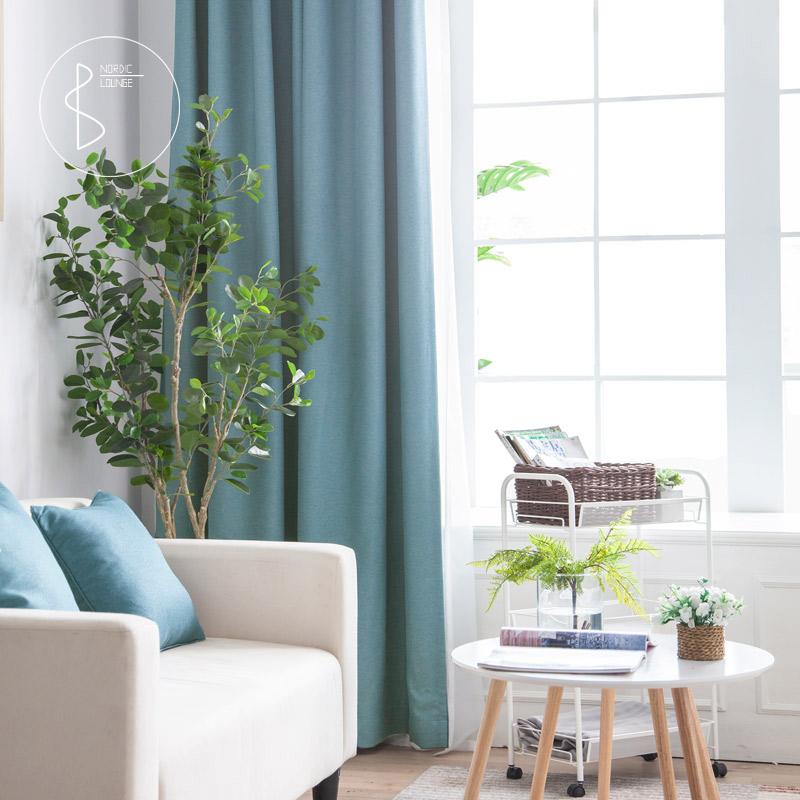 新品仿麻全遮光现代简约北欧纯色书房卧室飘窗灰色定制窗帘布7003